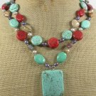 TURQUOISE & RED CORAL & PICTURE JASPER 2ROW NECKLACE