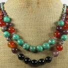 TURQUOISE & RED BLACK AGATE & JASPER 2ROW NECKLACE