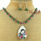 POTTERY SHARD AGATE NECKLACE/EARRINGS SET