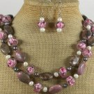 RHODONITE FLOWER LAMPWORK PEARLS NECKLACE/EARRINGS SET