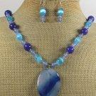BLUE AGATE CAT EYE JADE NECKLACE/EARRINGS SET