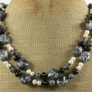 BLACK AFRICAN TURQUOISE AGATE FW PEARL 2ROW NECKLACE