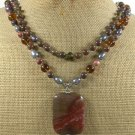 IMPERIAL JASPER BROWN JASPER CRYSTAL PEARL2ROW NECKLACE
