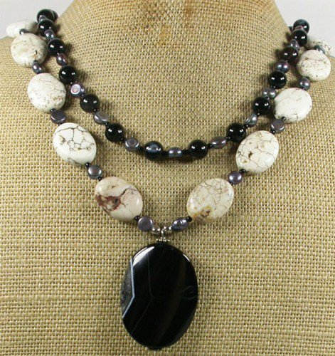 BLACK AGATE WHITE TURQUOISE FW PEARL 2ROW NECKLACE