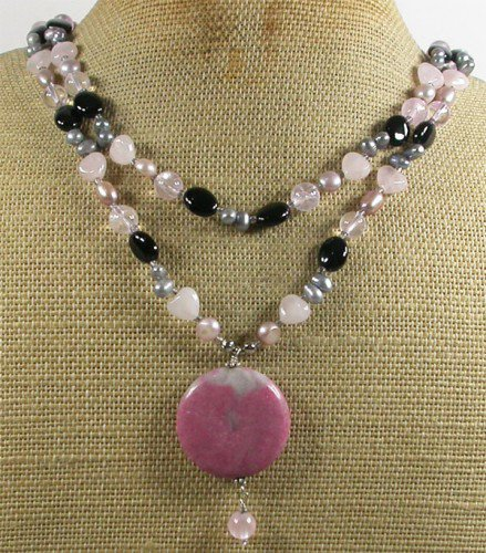 RHODONITE ROSE QUARTZ CLEAR QUARTZ AGATE 2ROW NECKLACE