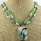 POTTERY SHARD CORAL JADE AGAT2ROW NECKLACE