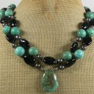 TURQUOISE & BLACK AGATE 2ROW NECKLACE