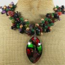 MURANO GLASS RED AGATE OLIVE GREEN JADE NECKLACE