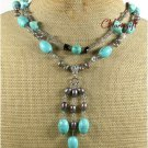 TURQUOISE SMOKY CRYSTAL FW PEARLS 2ROW NECKLACE