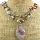 RAINBOW AGATE AMAZONITE CRYSTAL PEARLS 2ROW NECKLACE