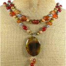 RED ORANGE AGATE FRESH WATER PEARLS 2ROW NECKLACE