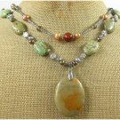 MUGER JASPER & GREEN TURQUOISE & FW PEARL 2ROW NECKLACE