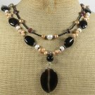 BLACK AGATE & RED TIGER EYE & PEARLS 2ROW NECKLACE