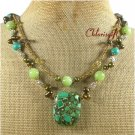 GREEN TURQUOISE JADE PEARLS 2ROW NECKLACE