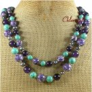 TURQUOISE PURPLE MOP JASPER PEARLS 2ROW NECKLACE