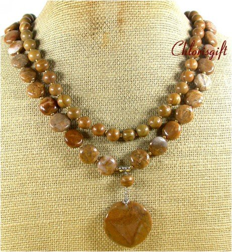NATURAL BROWN AGATE WOOD JASPER 2ROW NECKLACE