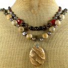 PICTURE JASPER CRYSTAL PEARLS 2ROW NECKLACE