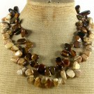 NATURAL PICTURE JASPER TIGER EYE 2ROW NECKLACE