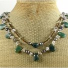 FANCY JASPER CLEAR QUARTZ PEARLS 2ROW NECKLACE