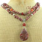 SAGE PLUME AGATE & RHODONITE & CARNELIAN 2ROW NECKLACE