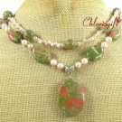 UNAKITE & FRESH WATER PEARL 2ROW NECKLACE