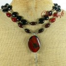 NATURAL RED BLACK AGATE 2ROW NECKLACE