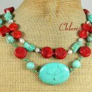TURQUOISE RED CORAL FW PEARL 2ROW NECKLACE