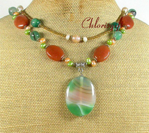GREEN AGATE HONEY JADE PEARLS 2ROW NECKLACE