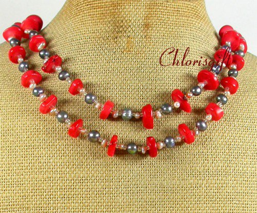 RED CORAL & FRESH WATER PEARLS 2ROW NECKLACE