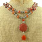 GOLDSTONE HONEY JADE CAT EYE 2ROW NECKLACE