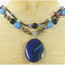 BLUE BLACK AGATE JADE PEARL CRYSTAL 2ROW NECKLACE