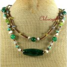 GREEN AGATE PERIDOT CRYSTAL PEARLS 2ROW NECKLACE