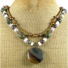 FANCY JASPER RUTILATED JASPER OPALITE 2ROW NECKLACE