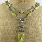 OLIVE JADE CRYSTAL FRESH WATER PEARLS 2ROW NECKLACE
