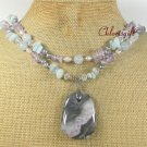 OCEAN JASPER BLUE JADE QUARTZ PEARLS 2ROW NECKLACE