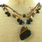 TIGER EYE & BLACK AGATE & BRONZE JASPER 2ROW NECKLACE