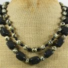 NATURAL VOLCANO LAVA DALMATIAN JASPER 2ROW NECKLACE