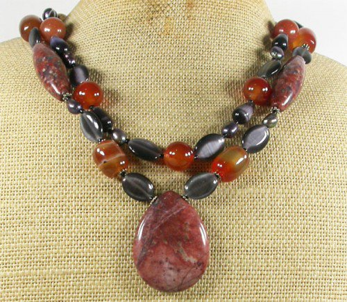 PICTURE JASPER SESAME JASPER AGATE PEARLS 2ROW NECKLACE
