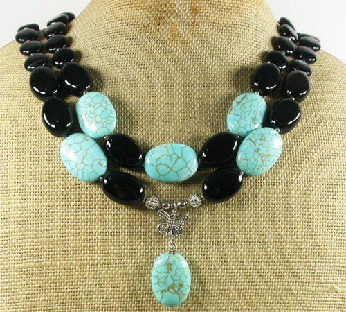 BLUE TURQUOISE BLACK AGATE 2ROW NECKLACE