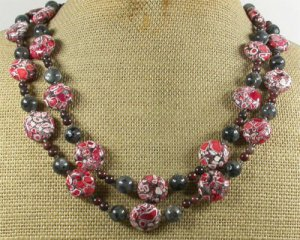 RED TURQUOISE BLACK LABORADITE JASPER 2ROW NECKLACE