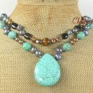 TURQUOISE TIGER EYE BLACK AGATE PEARL 2ROW NECKLACE