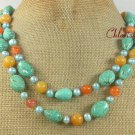 TURQUOISE HONEY JADE FW PEARL 2ROW NECKLACE