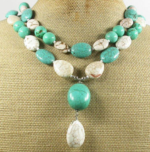 WHITE BLUE TURQUOISE 2ROW NECKLACE