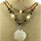 YELLOW JADE ROSE TIGER EYE PEARLS 2ROW NECKLACE