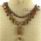 BROWN AGATE FRESH WATER PEARL 2ROW NECKLACE