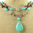 TURQUOISE AUTUMN JASPER UNAKITE PEARL 2ROW NECKLACE
