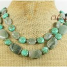TURQUOISE & GREEN RUTILATED JASPER 2ROW NECKLACE