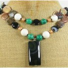 BLACK AGATE WHITE CORAL CRAZY AGATE 2ROW NECKLACE