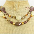 WHITE TURQUOISE TIGER EYE JASPER PEARL 2ROW NECKLACE