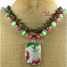 POTTERY SHARD JADE CAT EYE 2ROW NECKLACE